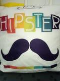 Квадратный валик холста с усиком и титр покрашенного hippster Стоковые Изображения
