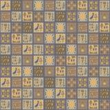 Квадратный египтянин вектора орнаментирует мозаики керамических плиток иероглифов море сувенира горничной руки коричневой желтой  иллюстрация вектора