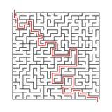 Квадратный лабиринт с входом и выходом головоломка лабиринта игры вектора с решением Стоковое Изображение