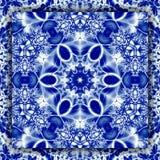 Квадратный половик солнца зимы мандалы снежинки в голубом цвете Стоковые Изображения RF