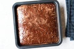 Квадратный сочный торт губки шоколада с соусом в прессформе Стоковая Фотография RF