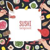 Квадратный фон с рамкой сделанной из суш японской кухни и удерживания рук, сасими и кренов с палочками реалистическо иллюстрация штока