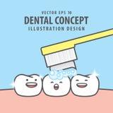 Квадратный характер зубов знамени очень счастливый для чистя щеткой illu зубов стоковые изображения