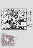 Квадратный черно-белый лабиринт с 3 input вариантами, включает решение к проблеме Стоковые Изображения