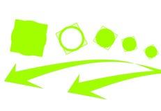 квадраты кругов стрелок зеленые Стоковое Изображение