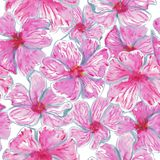 Квадрат акварели полный тропической картины цветков иллюстрация вектора