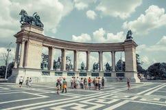 Квадрат Будапешт ` s героя самый большой квадрат в Будапеште Стоковое Изображение