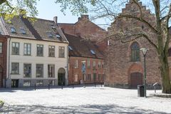 Квадрат в городе Лунда в Швеции Стоковые Изображения