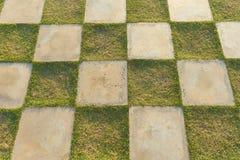 Квадрат зеленой травы и белого конкретного патио облицовывает квадрат в внешнем украшении, поле травы checkered стоковая фотография rf