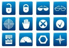 квадрат икон устройства установленный Стоковое Фото