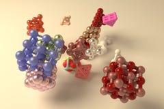 Квадрат или пирамиды геометрических конспекта виртуальные, молекулы стиля блокировать concepture Обои для графического дизайна 3d иллюстрация вектора