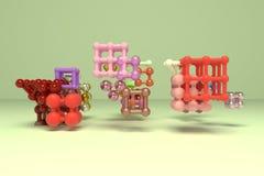 Квадрат или пирамиды геометрических конспекта виртуальные, молекулы стиля блокировать concepture Обои для графического дизайна 3d иллюстрация штока