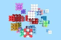 Квадрат или пирамиды стиля молекулы блокировать concepture Для графического дизайна или предпосылки, виртуальное геометрическое 3 иллюстрация штока