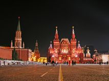 квадрат ночи moscow красный Стоковая Фотография RF