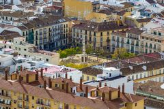 Квадрат Площади de Merced Merced в Малаге, Андалусии, Испании соперничайте Стоковая Фотография