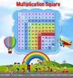 Квадрат умножения с играть детей иллюстрация штока