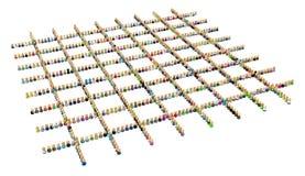 квадрат формы решетки толпы шаржа иллюстрация вектора
