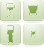 квадрат 2d olivine икон спирта стеклянного установленный иллюстрация вектора