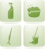 квадрат 2d olivine икон чистки установленный Стоковые Изображения