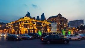 Квадрат Azneft в вечере стоковое фото rf