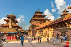 Квадрат durbar в Patan, древнем городе в Kathmandu Valley Стоковая Фотография RF