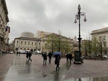 Квадрат La Scala в Милане Италии стоковые фотографии rf