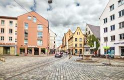 Квадрат Metzgplatz в Аугсбурге Германия стоковая фотография