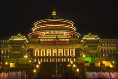 квадрат renmin sichuan ночи chongqing фарфора Стоковые Фото