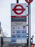 Квадрат Trafalgar автобусной остановки Лондона стоковые фотографии rf