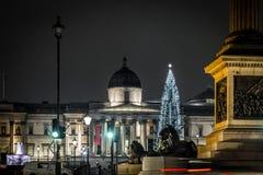 Квадрат Trafalgar во времени рождества, Лондон Стоковое Изображение RF