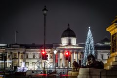 Квадрат Trafalgar во времени рождества, Лондон Стоковые Изображения RF