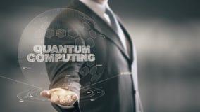 Квантовое вычисление с концепцией бизнесмена hologram сток-видео
