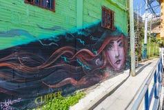 13 квартала Medellin известного для своих настенных росписей Стоковое фото RF