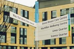 Квартал Brunel знака направления больницы Бристоля Southmead Стоковые Фото