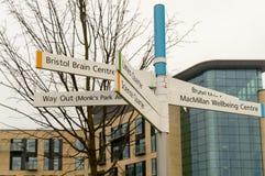 Квартал a Brunel знака направления больницы Бристоля Southmead Стоковые Изображения