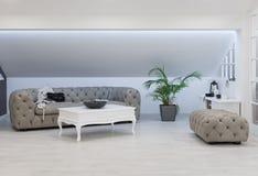 Квартира внутренняя, живущая комната просторной квартиры, реновация чердака Стоковые Изображения