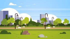 Квартира городской парка концепции городского пейзажа уличных фонарей зданий города outdoors горизонтальная иллюстрация штока