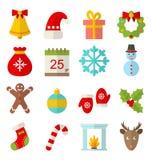 Квартира зимы и рождества установила с потехой спорт Стоковые Изображения