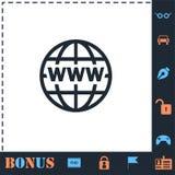 Квартира значка Всемирного Веба иллюстрация штока