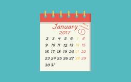 Квартира значка календаря 1-ое января, Нового года иллюстрация штока