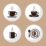 Квартира значков чашки кофе и чая установила 4 Стоковые Фотографии RF