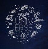 Квартира исследует синь вензеля вселенной иллюстрация вектора