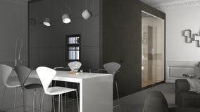 квартира Одн-комнаты, дизайн интерьера бесплатная иллюстрация