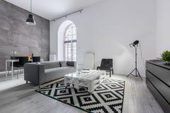 Квартира просторной квартиры в сером цвете Стоковые Фото