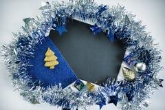 Квартира рождества кладет фото фона для рекламы или сообщения приветствию Стоковое Изображение RF