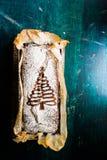 Квартира хлеба банана рождества кладет идущий сверху вниз состав стоковая фотография rf
