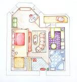 квартиры конструируют нутряной взгляд сверху иллюстрация вектора