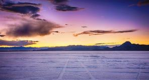 Квартиры соли Bonneville на заходе солнца Стоковая Фотография RF
