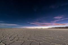 Квартиры соли Uyuni на ноче Стоковые Изображения RF