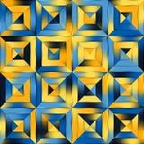 Квадрата лоскутного одеяла градиента растра заплатка голубого желтого безшовного раскосная геометрическая Стоковое Изображение